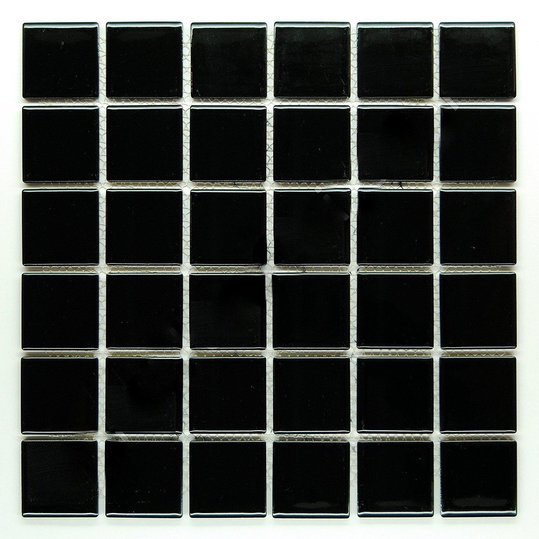 Vogue Premium Quality 2'' Black Porcelain Square Mosaic Tile Shiny Look Designed In Italy (12x12)