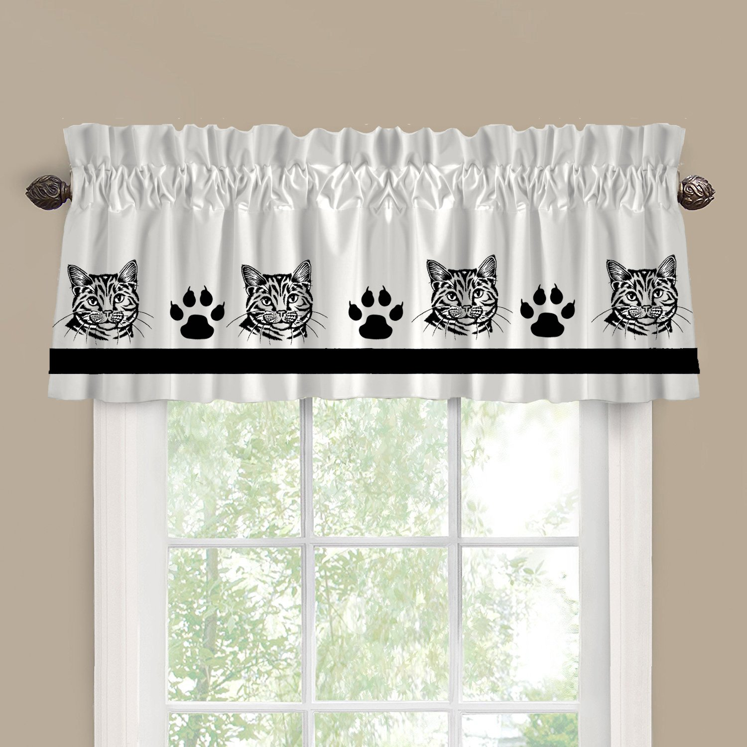 Calico Cat Cutie Face Window Valance / Window Treatment - In Your Choice of Colors - Custom Made