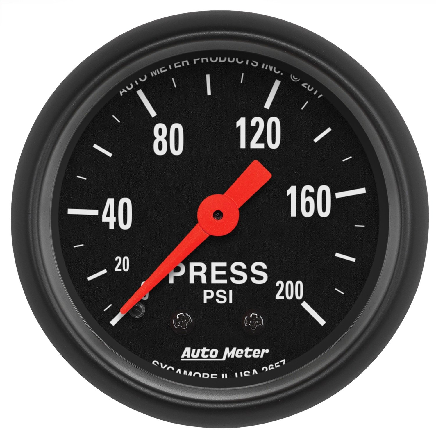 AutoMeter 2657 Z-Series Mechanical Pressure Gauge 2-1/16 in. 200 PSI Black Dial Face Black Bezel Fluorescent Red Pointer White Incandescent Lighting Z-Series Mechanical Pressure Gauge