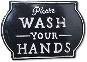 """THE NIFTY NOOK """"Please Wash Your Hands Vintage Metal Farmhouse Sign for Bathroom & Kitchen Décor 8.5"""" x 6"""" (Small Black)"""