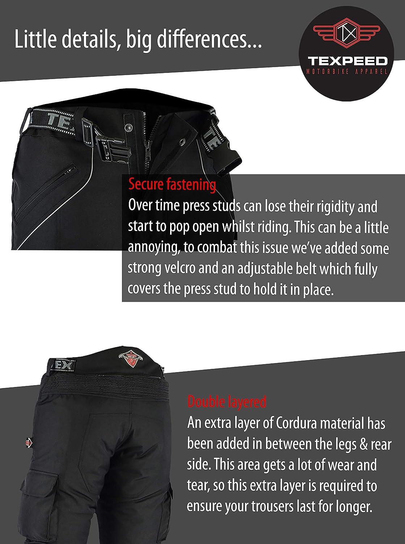 W48 L30 Texpeed All Black Waterproof Armoured Motorcycle//Motorbike Trousers Huge Size Range