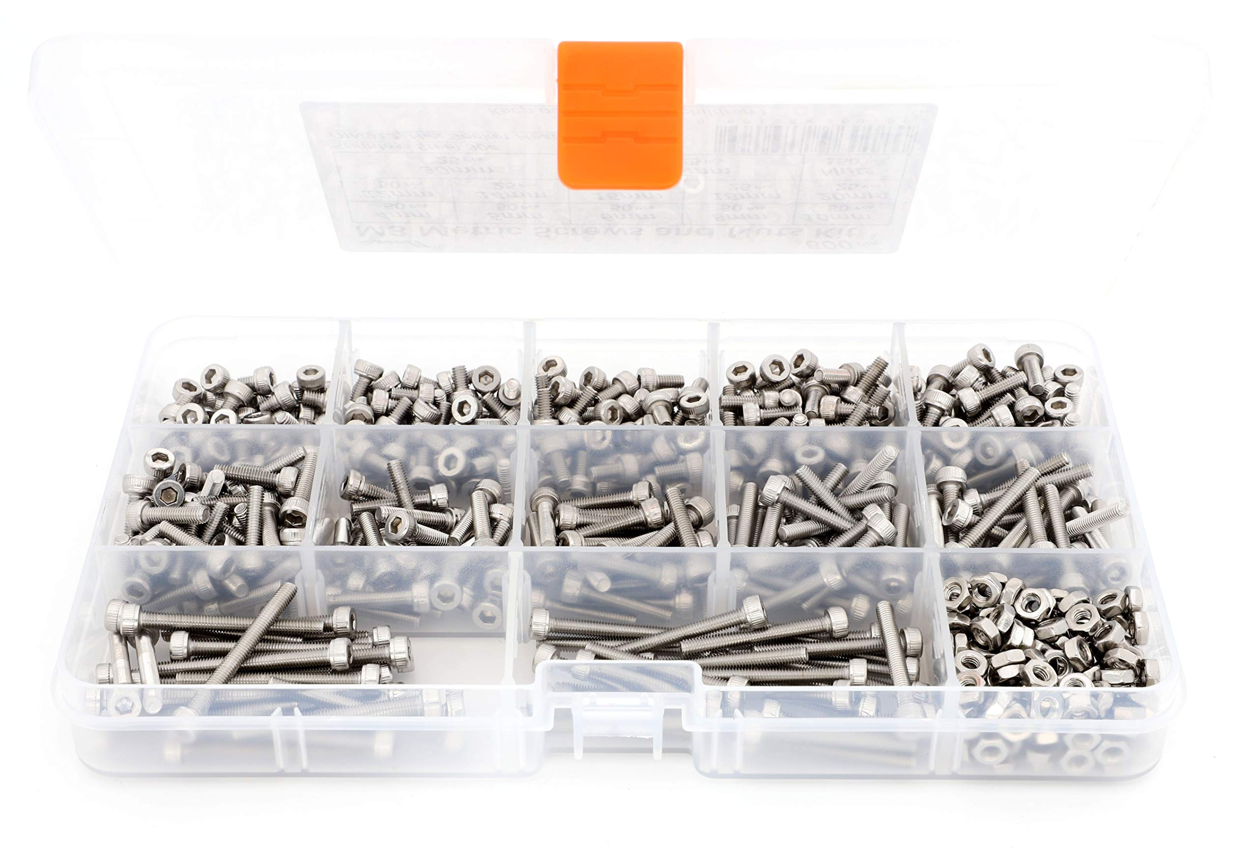 iExcell 600 Pcs Metric M3 DIN912 Stainless Steel 304 Hex Socket Head Cap Screws and Nuts Assortment Kit