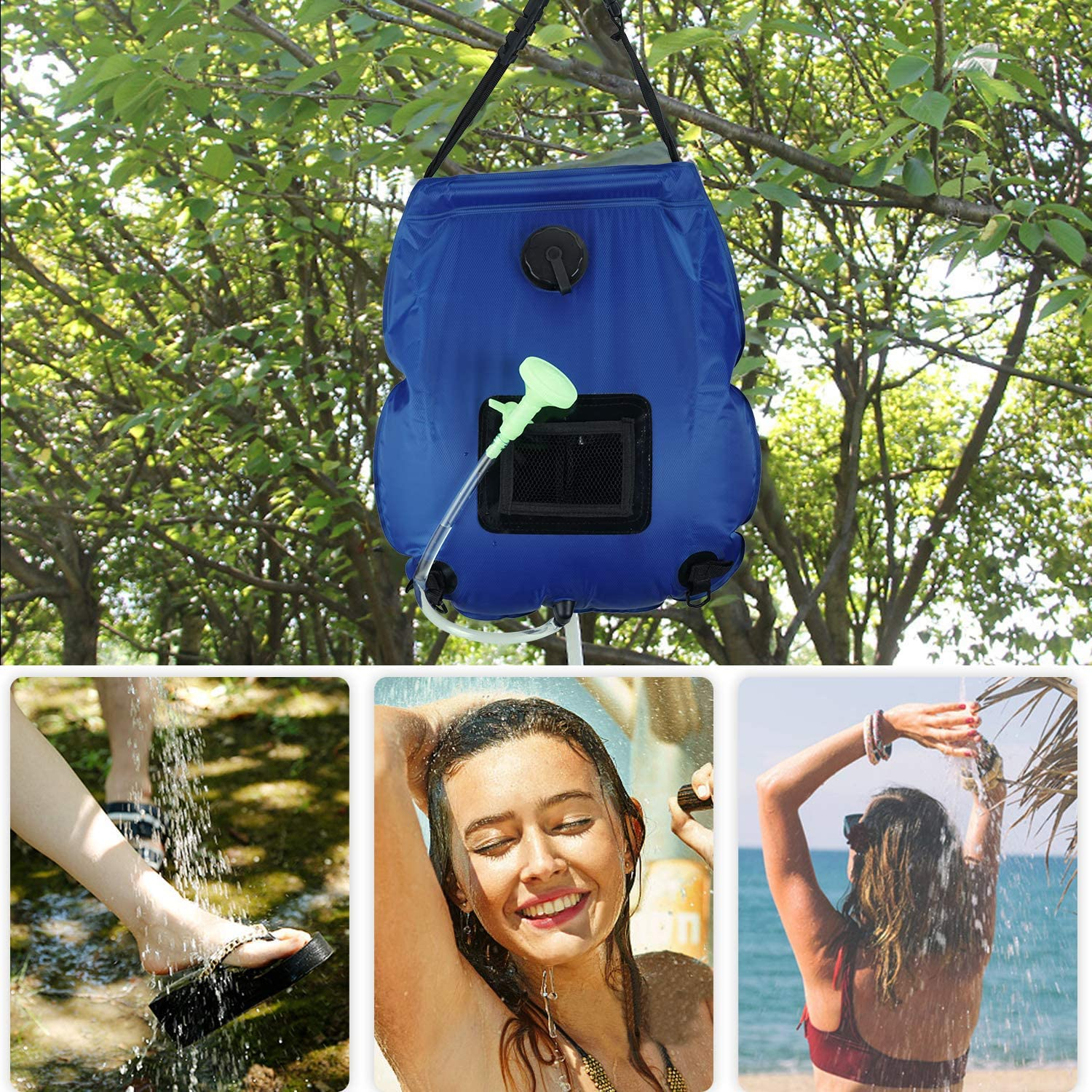kingbros Solar Camping Shower Bag for Camping 5 Gallons//20L Summer Shower Bag with Removable Hose and On-Off Switchable Shower Head Portable Shower for Camping Outdoor Traveling Hiking