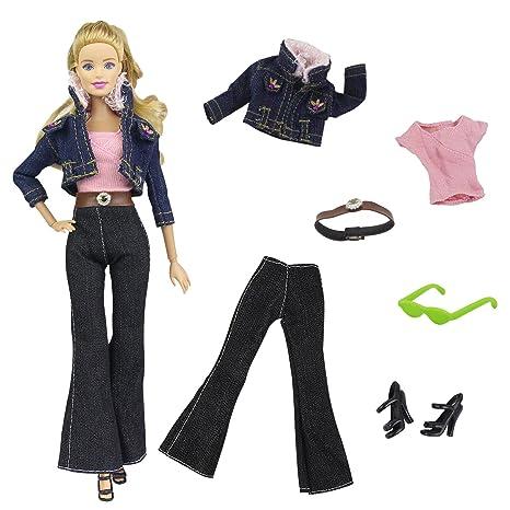 ZITA ELEMENT 5 in1 Set Moda Vestiti Abiti Bambola ( Cappotto + Jeans + Vest  + 321bfd8cce4