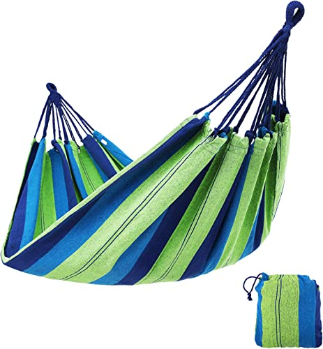 SONGMICS Cotton Hammock Swing Bed for Patio Porch, Garden Backyard for Traveling, Camping, Hiking, Backpacking Lounging Heavy-Duty, Lightweight and Portable Indoor Outdoor UGDC15L