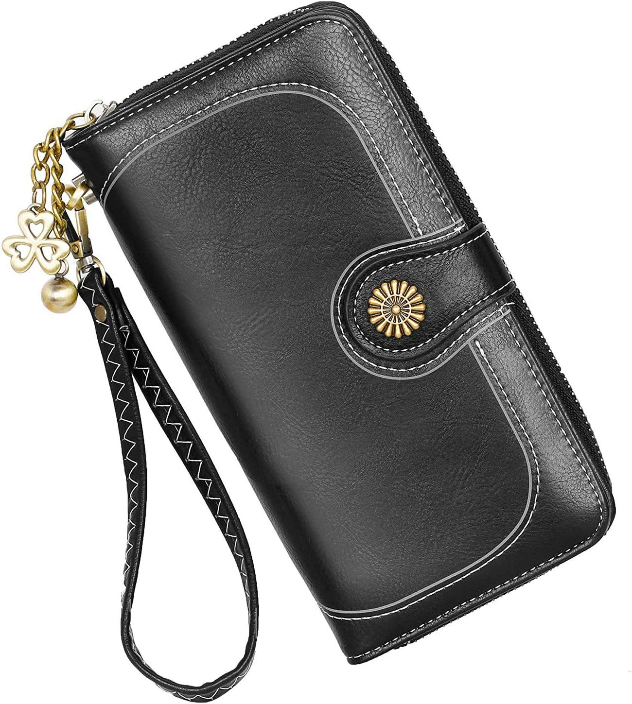 Black Cats Womens RFID Blocking Zip Around Wallet Genuine Leather Clutch Long Card Holder Organizer Wallets Large Travel Purse
