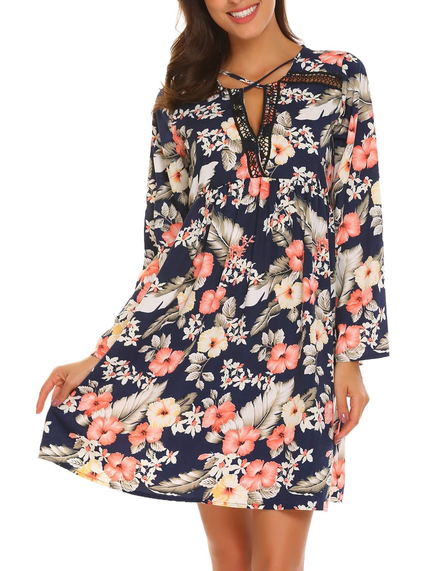 Beyove Women\'s Long Sleeve Fit and Flare Bohemian Vintage Printed Loose Casual Dress
