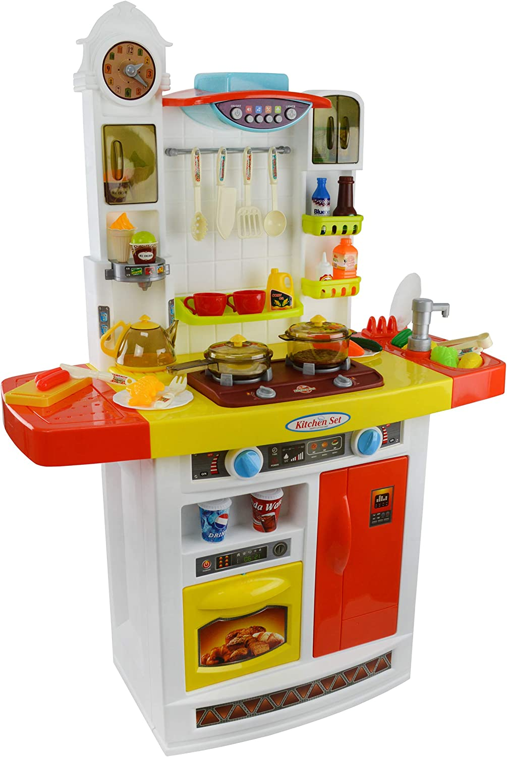 Jimmy's Toys Kids Play Kitchen Playset with Music, Real Water Sink, Realistic Sounds, Pots, Pan, Dishes, and Accessories (Cosina para Niñas y Niños) (Orange)