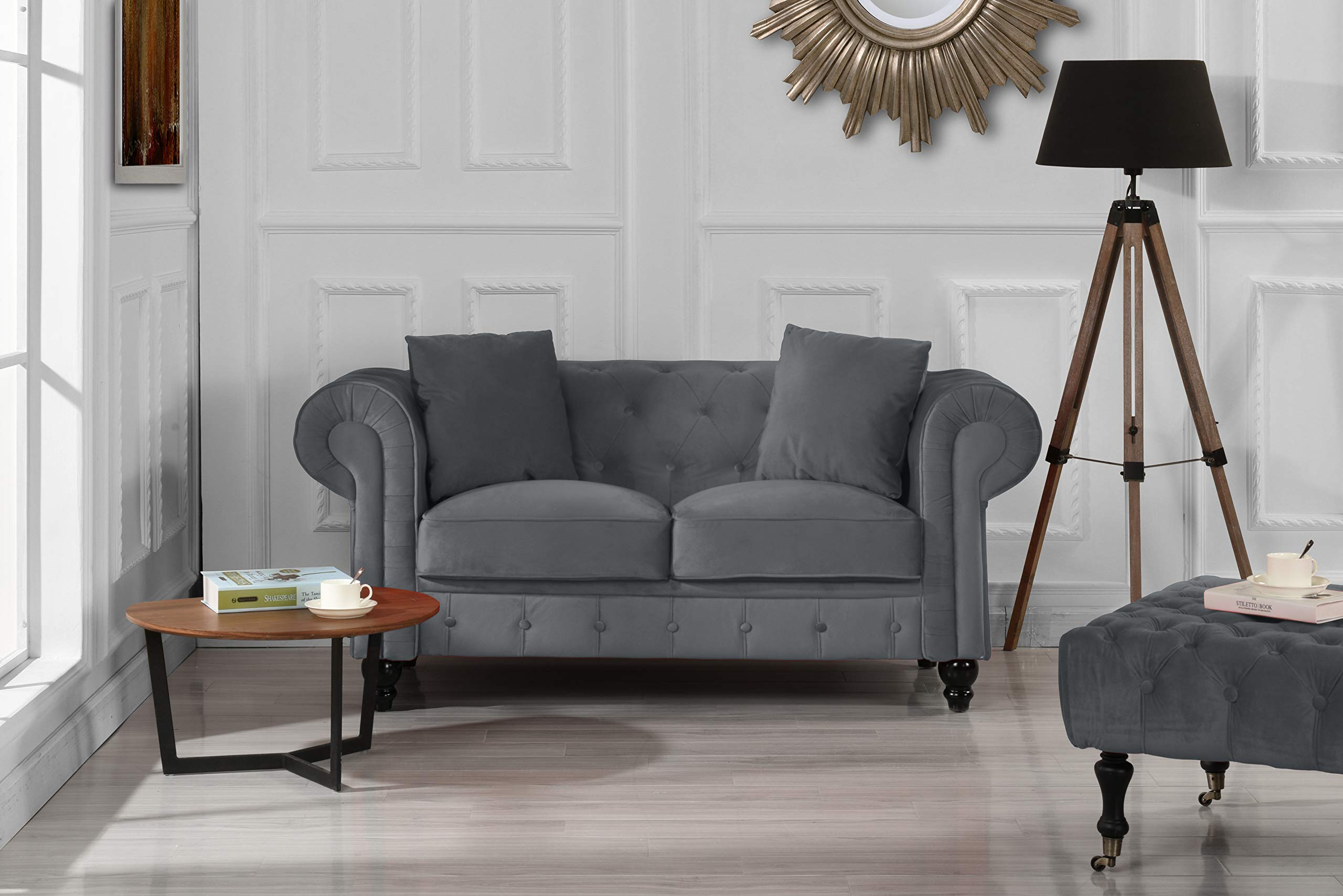 Furniture Classic Modern Scroll Arm Velvet Chesterfield Love Seat Sofa (Grey) by Divano Roma