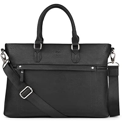 14 Inch Laptop Briefcase, COOFIT PU Leather Briefcase Laptop Bag Shoulder Messenger Bag Business Work Bag for Men, Black