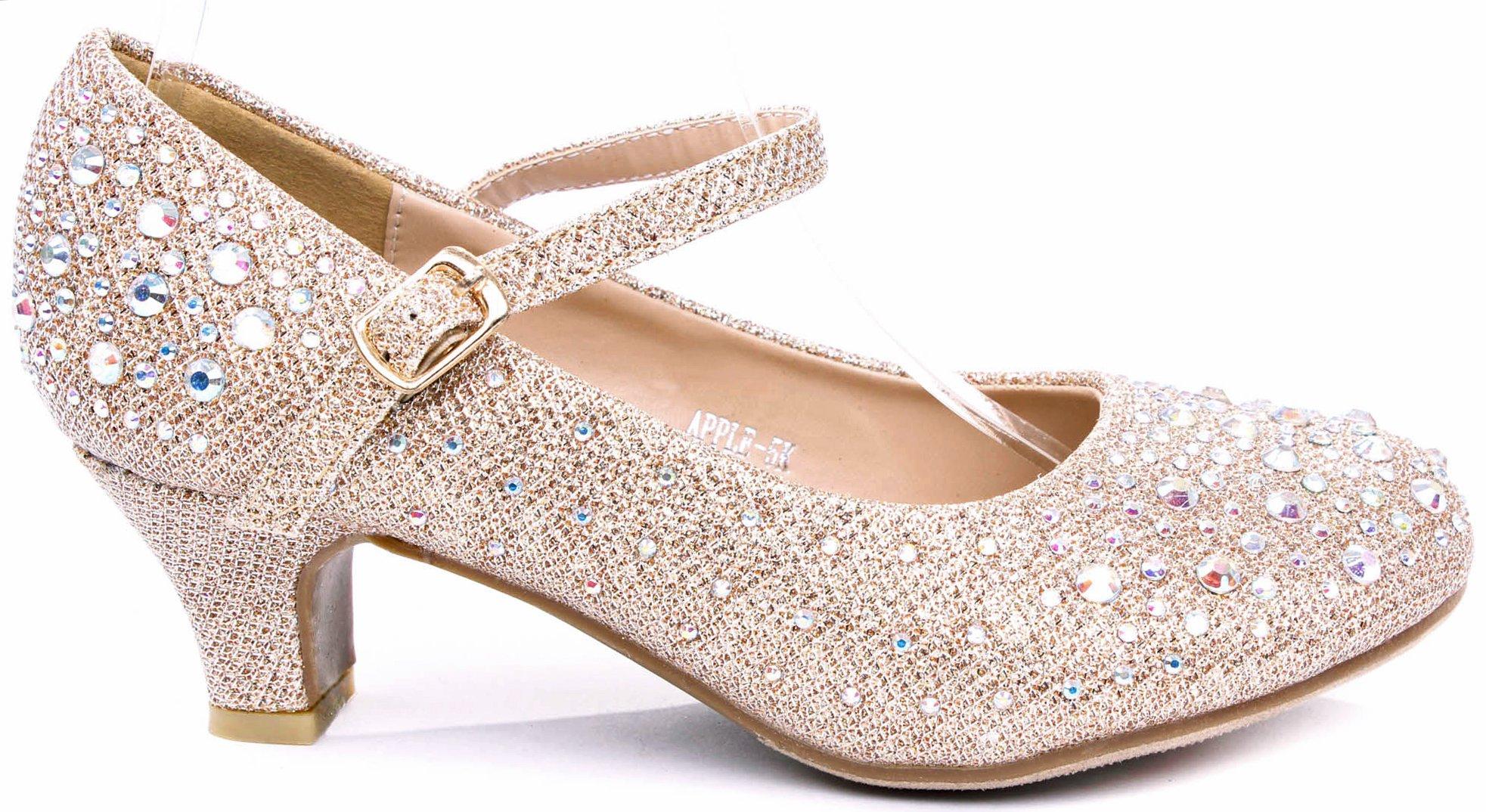 JJF Shoes Apple Kids Champagne Sparkling Mary Jane Rhinestone Glitter Formal Dress Low Heel Pumps-4