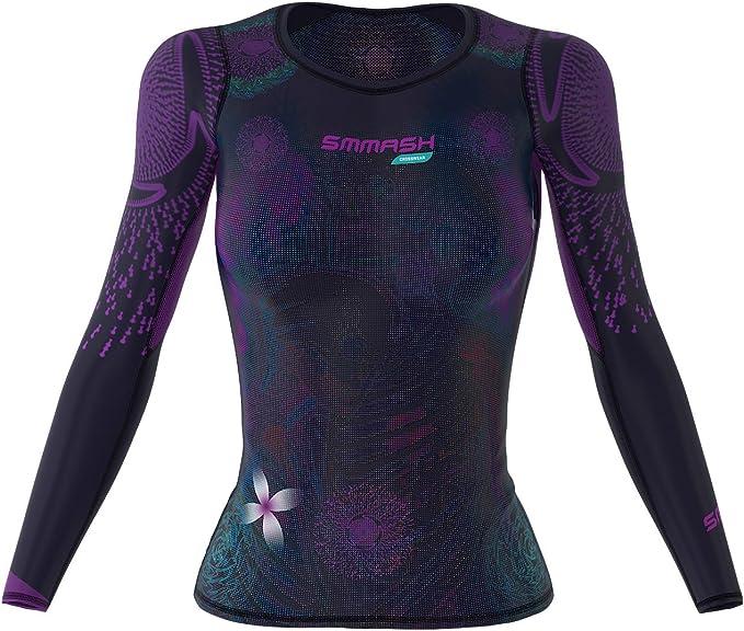 Atmungsaktiv und Leicht Antibakterielles Material Sport Funktionsshirt f/ür Crossfit Sportshirt Damen Hergestellt in der EU Yoga Gym SMMASH Wonderland Damen Compression Funktionsshirt Kurze