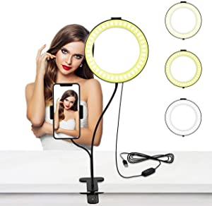 Selvim 6 inch Selfie Ring Light with Cellphone Holder Stand- Ring Light Stand for Live Stream & Makeup, 64 LED Bulbs 3 Light Modes 10-Level Brightness 360° Rotating for iPhone Android Cell Phone