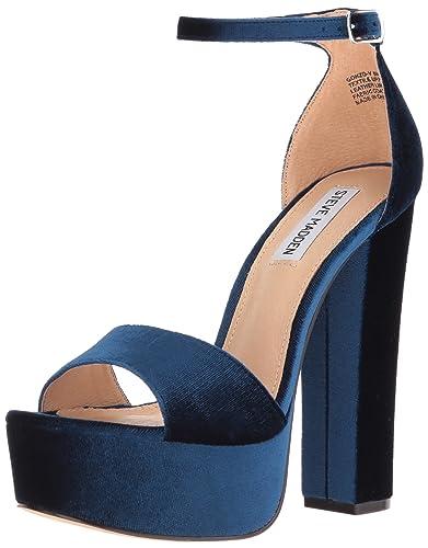 90988e58270 Steve Madden Women's Gonzo-v Dress Sandal, Blue Velvet, 6.5 M US ...