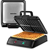 """REDMOND Belgian Waffle Maker, Non-Stick 8"""" Waffle Iron Compact 4 Square Waffles Stainless Steel with Anti-Overflow Edge and T"""