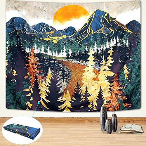Unv Sunset Mountain Tapestry, Decorative Forest Trees Art Tapestry Nature Landscape Tapestries Wall Hanging for Bedroom Living Room Home Dorm Decor 59.1 x 82.7 , Yellow Green