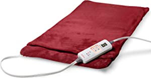Sunbeam Heating Pad for Fast Pain Relief, XX-Large Ultra-King XpressHeat, 6 Heat Settings with Auto-Shutoff, Burgundy, 14 x 27 Inch