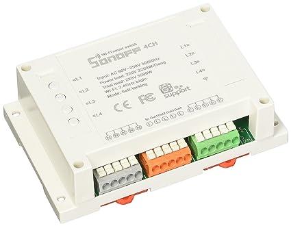 Sonoff 4CH 4 Canales Din Rail Mounting Conmutador WiFI para Casa Inteligente DIY,Control Remoto