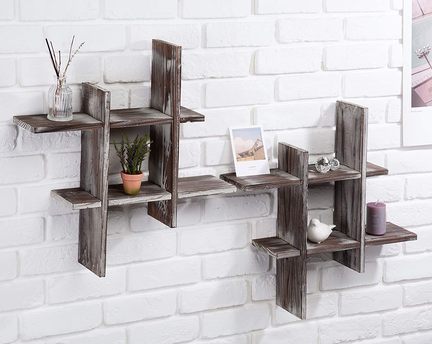 J JACKCUBE DESIGN Rustic Wall Mount Shelves Set of 2 Cube Grid Display Case Floating Organizer Rack Farmhouse Style Home Decor for Bathroom, Kitchen, Bedroom - MK511A