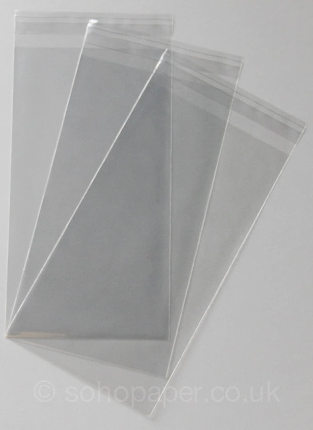 Cello Bags 125 x 230mm + 30mm Lip Self Seal packed in 100's Soho Paper Products