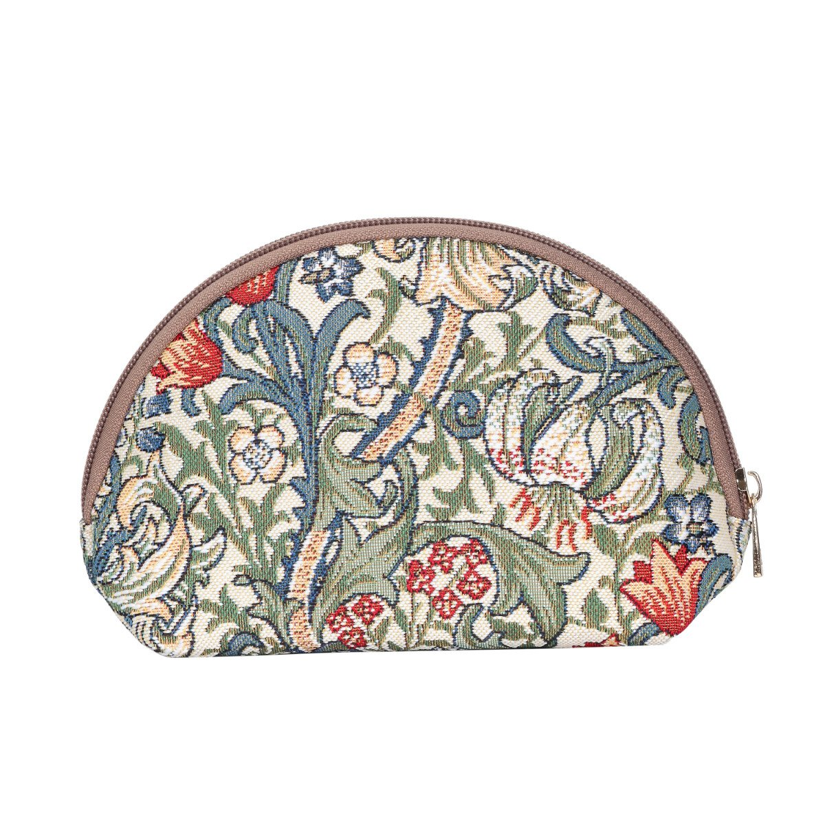 Signare Tapestry Makeup Bag Travel Cosmetic Bag Brush Bag for Women Girls by Designer William Morris Golden Lily (COSM -GLILY)