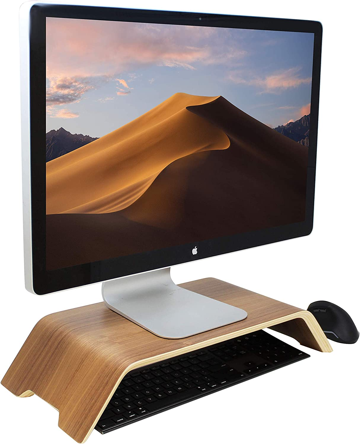 HumanCentric Wood Monitor Stand and Computer Riser for Desk (Black Walnut) | Wooden Shelf Stand for Monitors, Computers, Laptops, Desktops, PCs to Organize Home & Office | Patent Pending