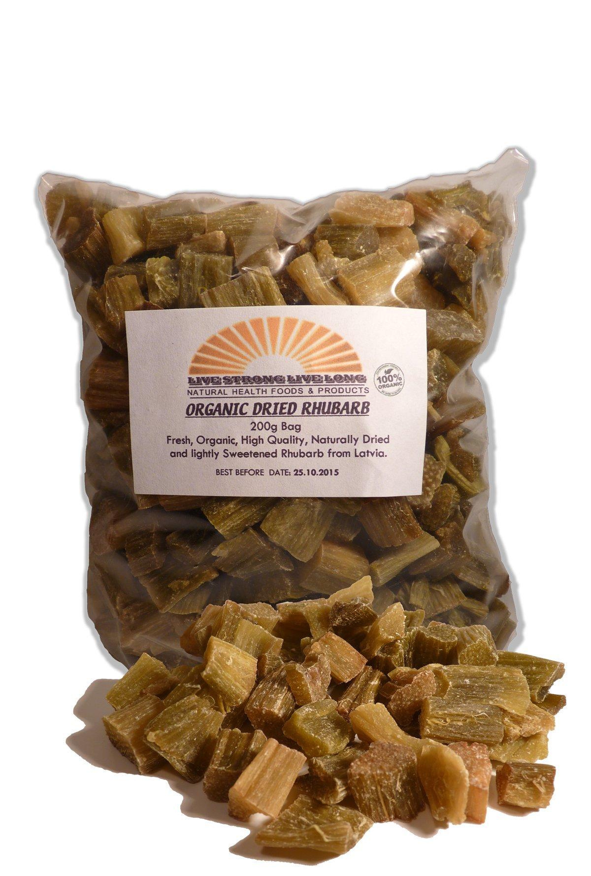 100% Organic Dried Rhubarb Pieces 200g Bag - 7oz