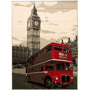 Just Contempo Retro Vintage Big Ben de autobús Rojo de Londres con Alfombra – Ideal para