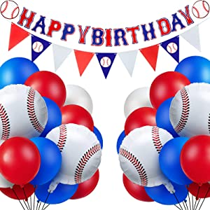 52 Pieces Baseball Themed Birthday Party Decorations Including 1 Happy Birthday Banner, 1 Triangle Bunting Flag and 50 Baseball Themed Balloons for Sports Themed Party, Birthday Party Supplies