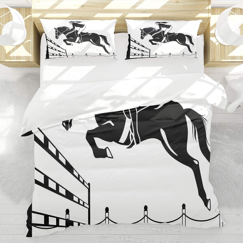 BEDNRY Juego de Ropa de Cama,Caballo de Carreras de Dibujos Animados con una niña Jinete Saltando por Encima de la Barrera Barn Farming Image Print,1 Funda Nórdica 220x240cm y 2 Funda de Almohada