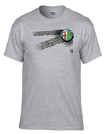 ALFA ROMEO - Auto Logo car Fun T-Shirt -011-Gris (M
