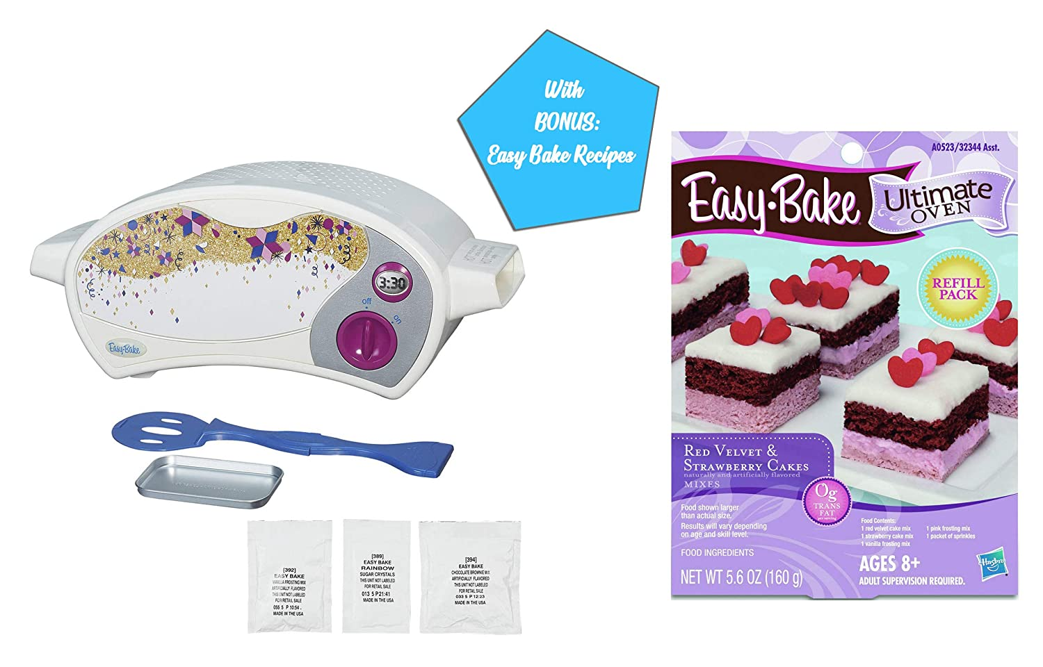 Easy Bake Ultimate Oven Gift Bundles for Boys and Girls, Little Chef Gifts, Birthday Gift Ideas for Kids, Holiday Presents (Oven + Red Velvet Strawberry Cake Mix)