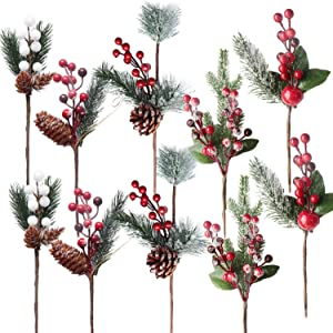 Chirstmas Flower Picks, SPWOLFRT 10 Pcs Christmas Red Berries/White Berries/Holly Leaves/Artificial Christmas Picks/Berry Stems Pine Branches for Winter Décor, Xmas Decorations (Multicolor A, 10)
