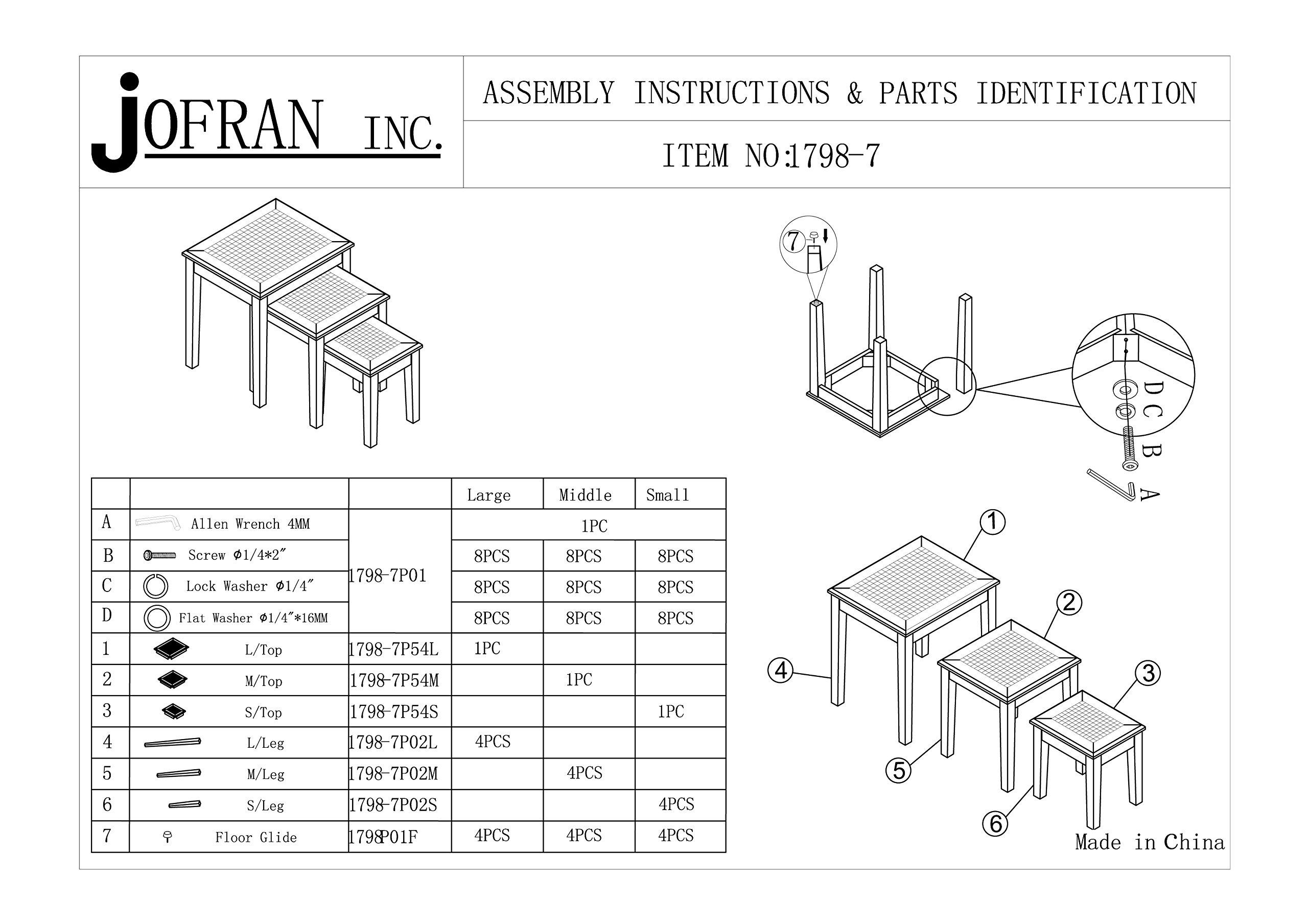 Jofran Grey Mosaic Nesting Tables, Large 21'' WX 17'' D X 22'' H, Medium 16.25'' W X 15.25'' D X 19'' H, Small 12'' W X 14'' D X 15'' H, Dark Finish, (Set of 3) by Jofran