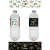 100th Birthday Party Water Bottle Labels - Multi-Colored (20 Count)