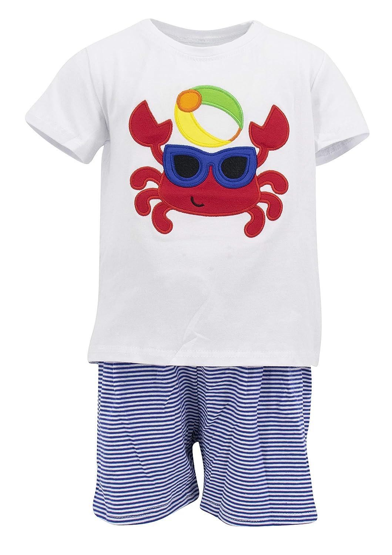 Unique Baby Boys Crab Summer Beach Outfit 2 Piece Shorts Set