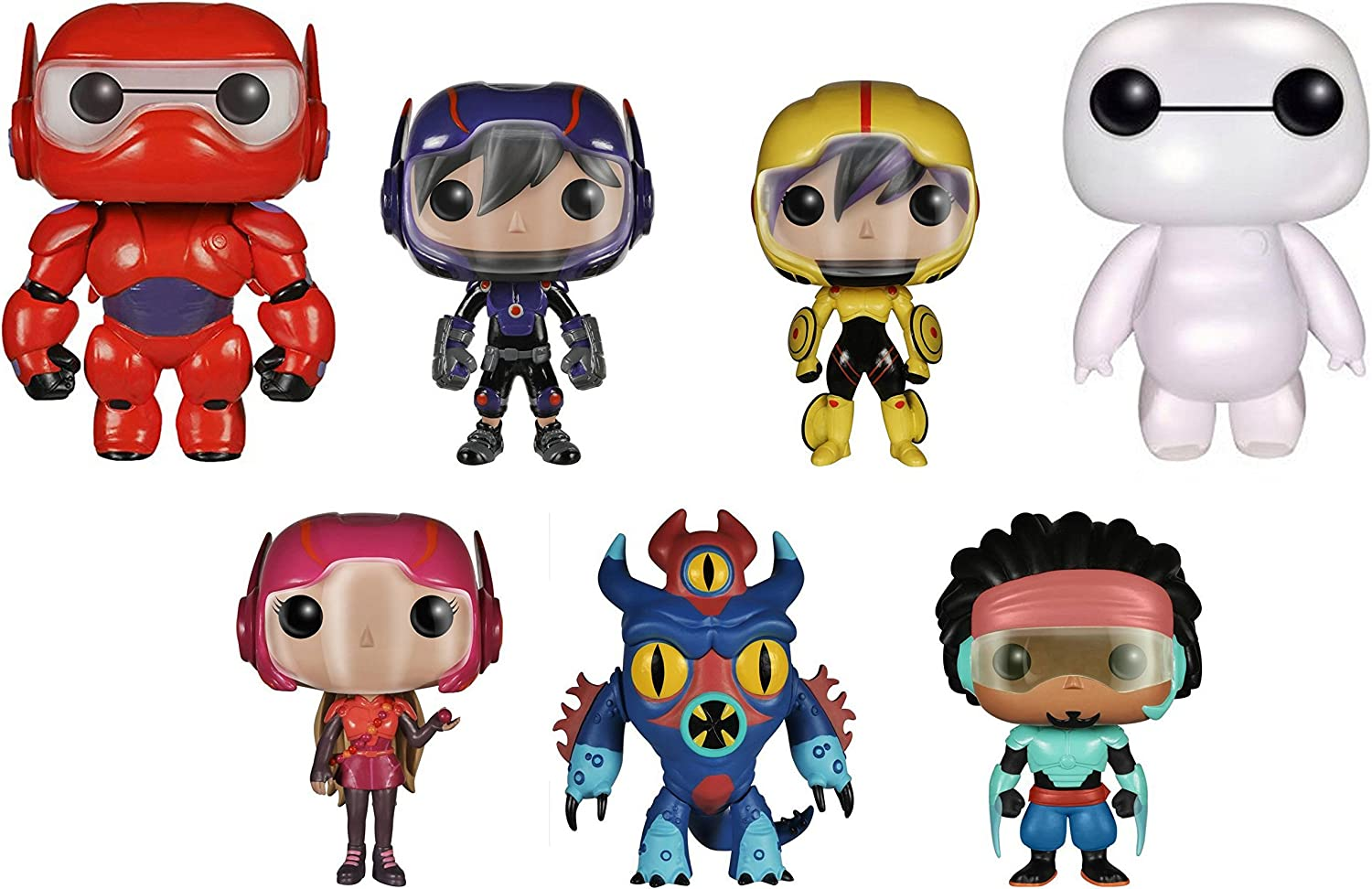 Amazon Com Funko Pop Disney Big Hero 6 Bundle Baymax Pearlescent Nursebot Baymax Hiro Hamada Go Go Tomago Honey Lemon Wasabi No Ginger Fred Toys Games