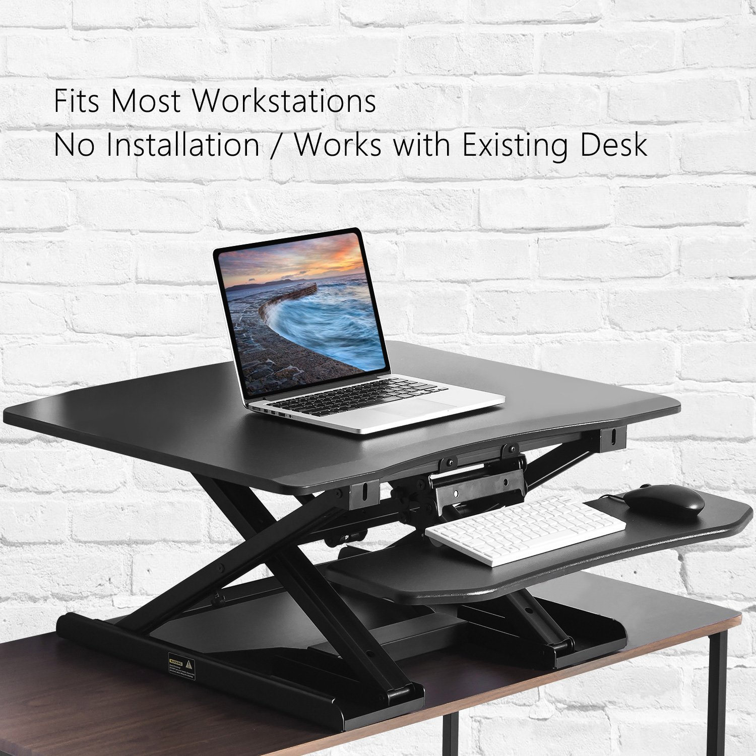 Modern Luxe Adjustable Sit-Stand Desk Height Adjustable Standing Desk Black Elevating Desktop Workstation