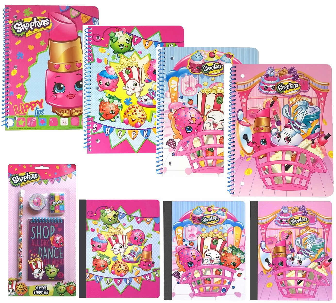 'Value pack Shopkins School Party Favors Gift Supplies 4 Spiral Notebooks, 3 Composition books and 1 Study Kit (Pencil Sharpener Eraser Memo Pad)
