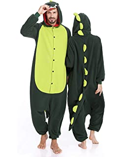 Dinosaur Adult Onesies Pajamas Animal One Piece Cosplay Halloween Costume  for Men Women dd8295a3c419