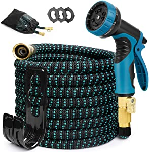 EOOIO 25FT Expandable Garden Hose - Flexible Water Hose with 3/4 Solid Brass Valve, Durable 3-Layers Latex, 10 Function Spray Nozzle, Yard Hoses (Black-Blue)