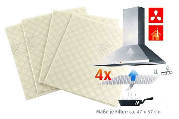 4 Dunstflachfilter Vlies Dunstabzugshaube Dunstfilter Fett Filter Filterwechsel