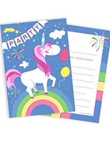 Olivia Samuel Unicorn And Rainbow Party Birthday Invitations