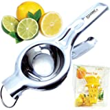 EcoJeannie LS0001 Professional Jumbo Stainless Steel Lemon and Lime Squeezer and Juicer with Free Citrus Tap