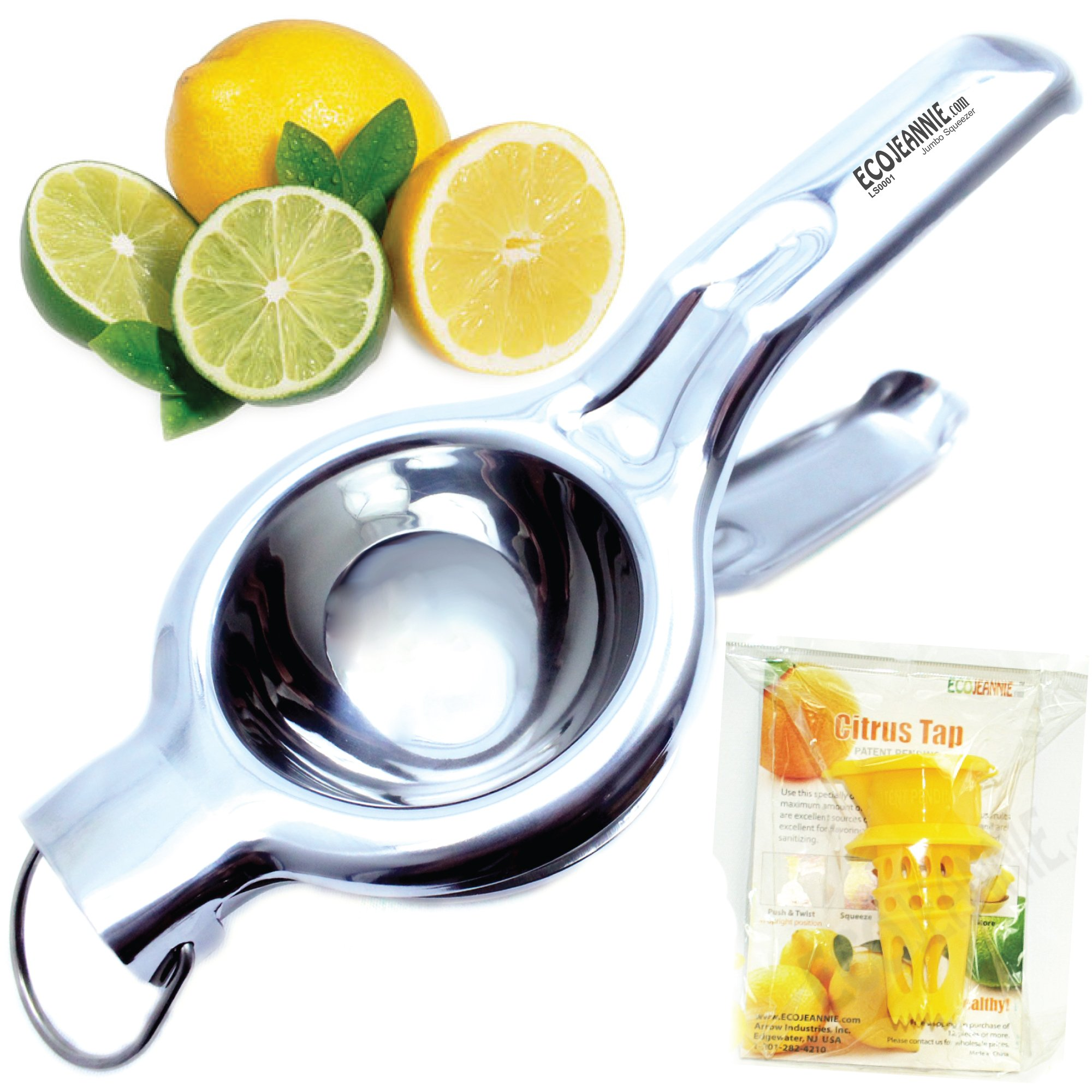 EcoJeannie LS0001 Professional Jumbo Stainless Steel Lemon and Lime Squeezer and Juicer with Free Citrus Tap, 9.25-Inch, Silver by EcoJeannie (Image #1)