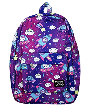 3f9ac9aa1 Amazon.com | Loungefly x Hello Kitty Outer Space Allover-Print Nylon  Backpack (One Size, Multicolored) | Casual Daypacks