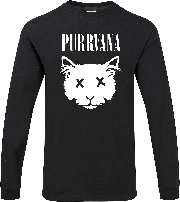 Hippowarehouse Purrvana Grunge Cat Camiseta Unisex de Manga Larga: Amazon.es: Ropa y accesorios
