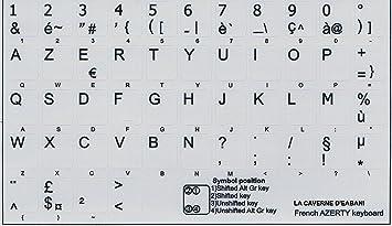Autoadhesivo AZERTY, teclado francés, fondo gris.