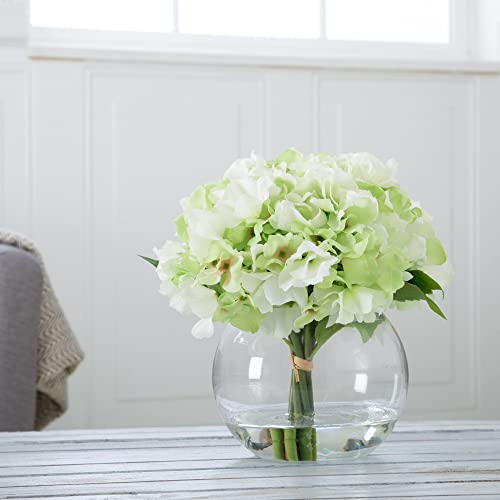 Pure Garden Hydrangea Floral Arrangement with Glass Vase – Green