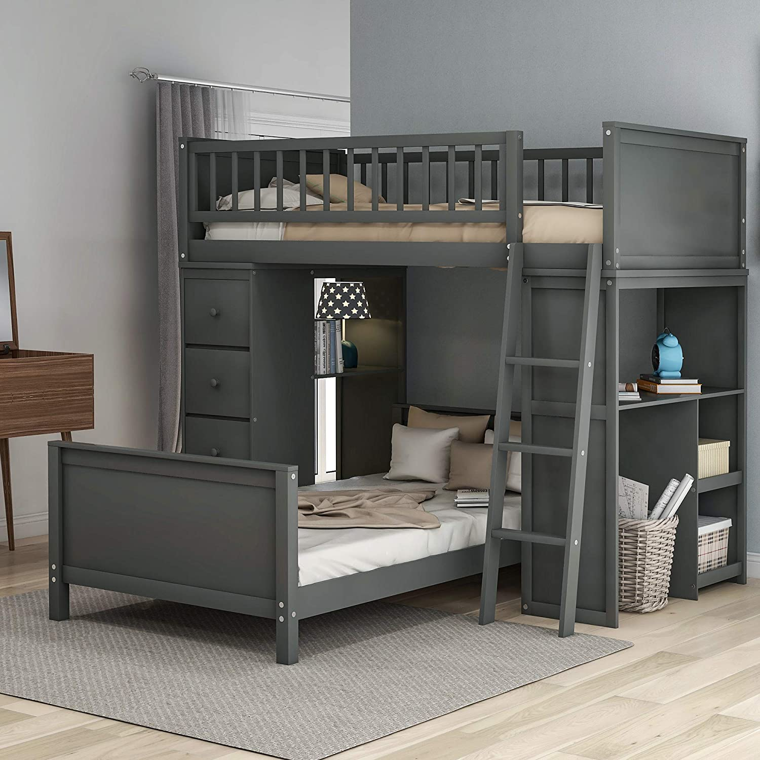 Amazon Com Merax Twin Over Twin Loft Bed Bunk Bed With Drawers And Shelves Twin Bed Set With Desks Gray Kitchen Dining